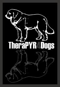 Logo therapyr4dogs op zwarte achtergrond gr